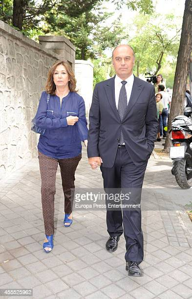 Ana Rosa Quintana and Juan Munoz attend the funeral chapel for Isidoro Alvarez president of El Corte Ingles who died at 79 aged on September 15 2014...