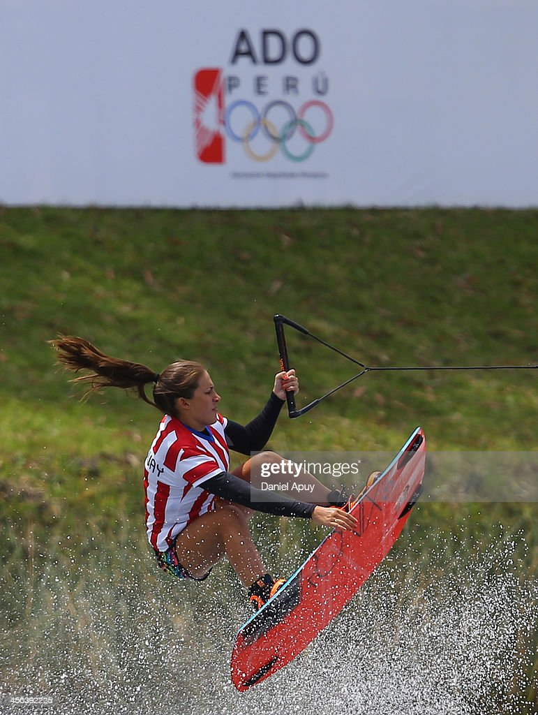 Ana Sisul of Paraguay during the Water Skiing Wakeboard Ladies Final event as part of the XVII Bolivarian Games Trujillo 2013 at Laguna de Bujama on November 18, 2013 in Lima, Peru.