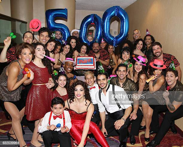 Ana Villafane and Ektor Rivera with cast from the Broadway production of 'On Your Feet' celebrate their 500th performance at Marquis Hotel on January...