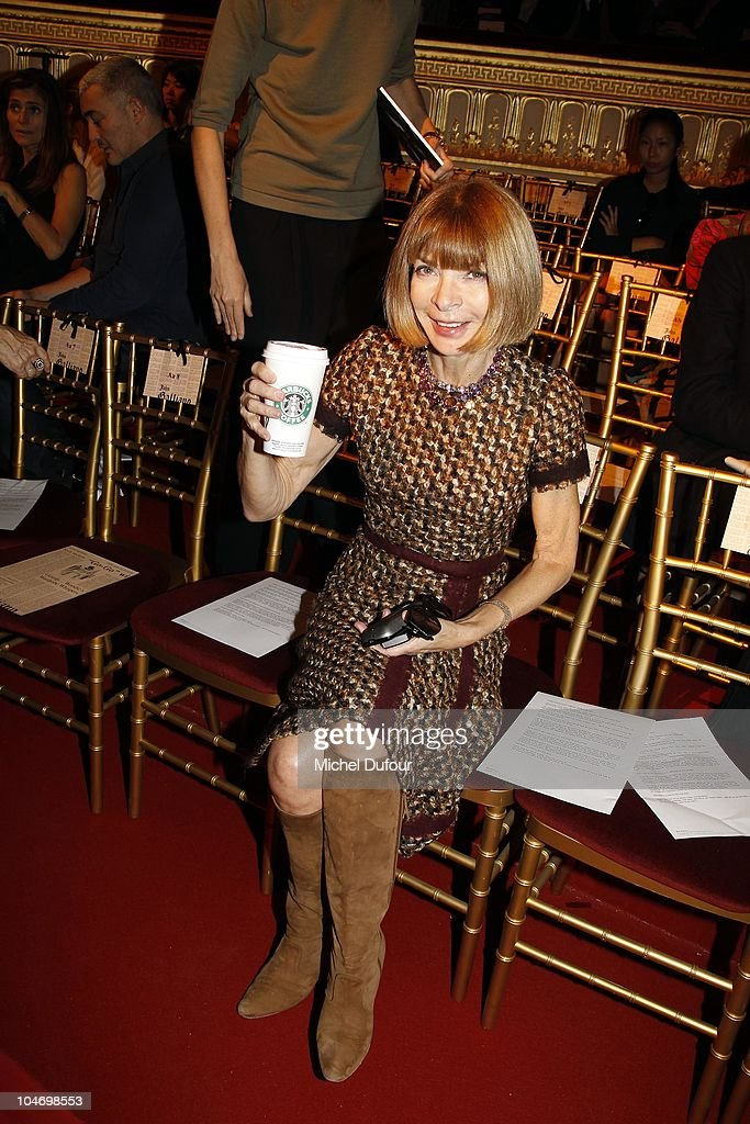 Ana Wintour attends the John Galliano Ready to Wear Spring/Summer 2011 show during Paris Fashion Week at Opera Comique on October 3, 2010 in Paris, France.