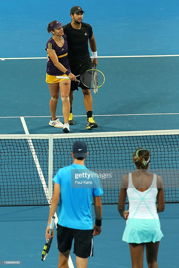 Anabel Medina Garrigues and Fernando Verdasco of Spain celebrate winning the mixed doubles match against Venus Williams of the USA and Thanasi Kakkinakis of Australia during day six of the Hopman Cup at Perth Arena on January 3, 2013 in Perth, Australia. Thanasi Kakkinakis, the number 2 ranked 16 year old player in the world, replaced John Isner of the USA after withdrawing from the event due to injury.