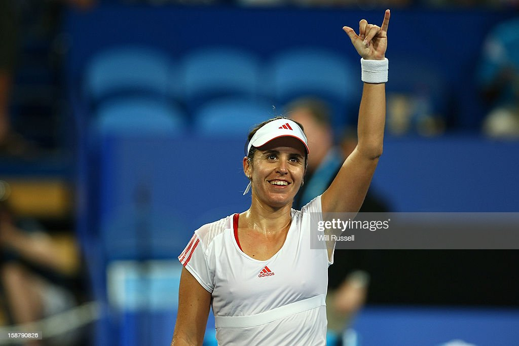 Anabel Medina Garrigues of Spain acknowledges the crowd after winning her singles match against Chanelle Scheepers of South Africa during day one of the Hopman Cup at Perth Arena on December 29, 2012 in Perth, Australia.