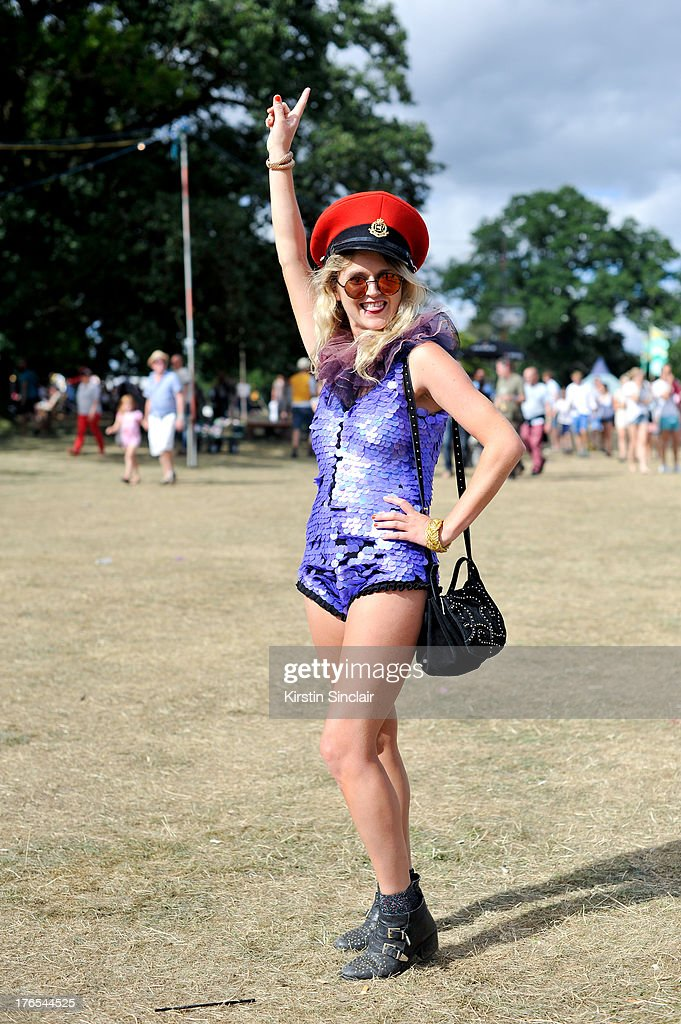 Anabelle wears a Rosa Bloom leotard, Kempton Market Hat, Topshop boots, Zara bag and Urban Outfitters socks on day 4 of Wilderness Festival on August 11, 2013 in Cornbury Park, Oxfordshire, England.