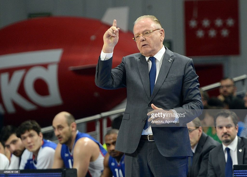 Anadolu Efes Istanbul's coach Dusan Ivkovic reacts during the Turkish Airlines Euroleague playoff basketball match Real Madrid vs Anadolu Efes Istanbul at the Barclaycard Center in Madrid on April 15, 2015.