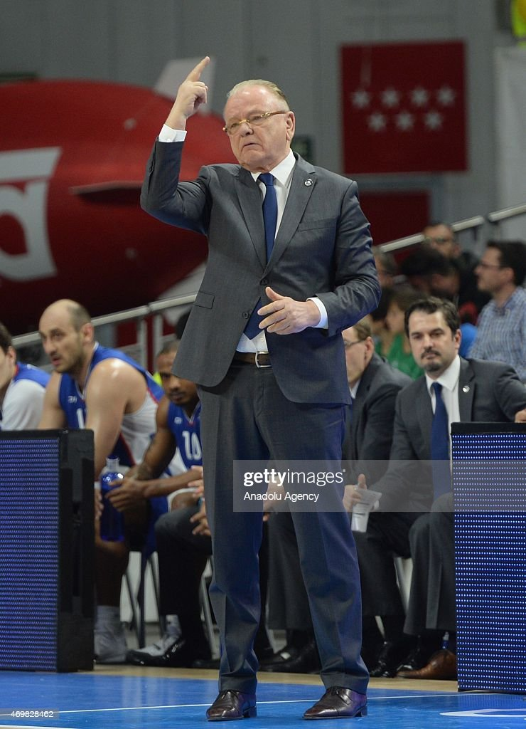 Anadolu Efes Istanbul's coach <a gi-track='captionPersonalityLinkClicked' href=/galleries/search?phrase=Dusan+Ivkovic&family=editorial&specificpeople=692169 ng-click='$event.stopPropagation()'>Dusan Ivkovic</a> reacts during the Turkish Airlines Euroleague playoff basketball match Real Madrid vs Anadolu Efes Istanbul at the Barclaycard Center in Madrid on April 15, 2015.