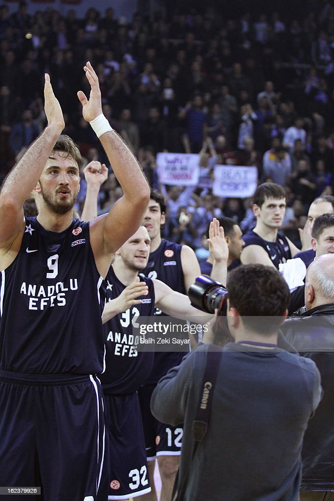 Anadolu Efes Players celebrating the score of the 2012-2013 Turkish Airlines Euroleague Top 16 Date 8 between Anadolu EFES Istanbul v CSKA Moscow at Abdi Ipekci Sports Arena on February 22, 2013 in Istanbul, Turkey.