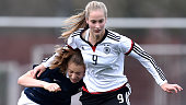 Anaelle Anglais of France and Laura Radke of Germany battle for the ball during the U17 girl's international friendly match between Germany and...