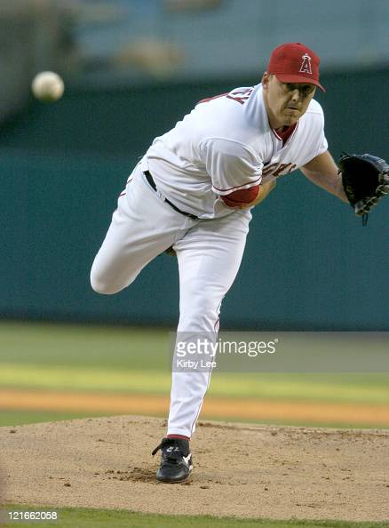 Anaheim Angels starter John Lackey pitched 8 1/3 innings during 20 victory over the Texas Rangers at Angel Stadium on Wednesday July 28 2004 Lackey...
