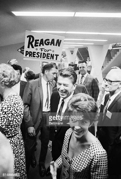 California Governor and Mrs Ronald Reagan arrive at the Anaheim Convention Center where the Governor spoke to the Republican State Central Committee...
