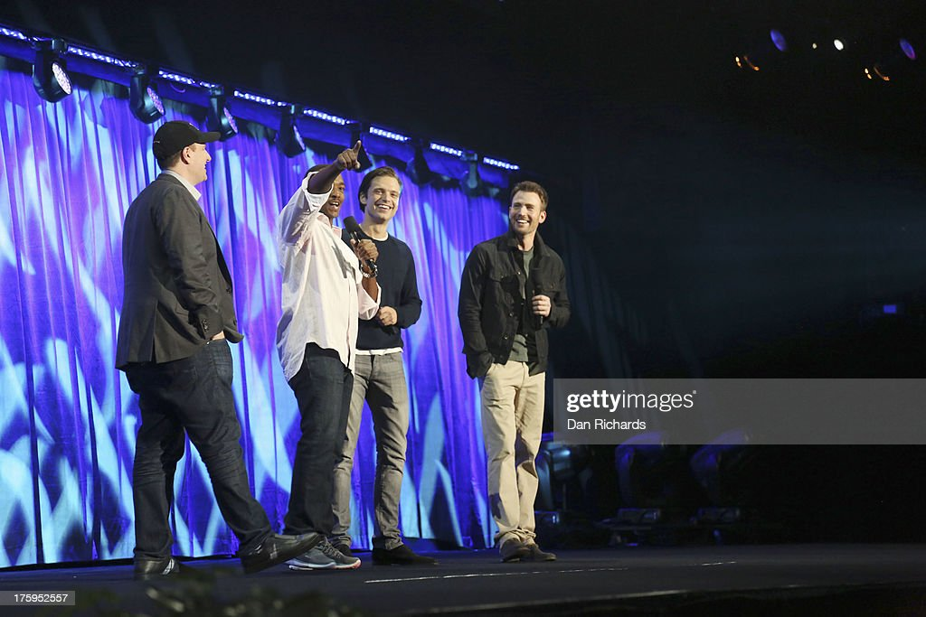 STUDIOS - Anaheim, California (August 10, 2013) - The Walt Disney Studios showcases the Studios' exciting live-action release slate, including Disney's 'Saving Mr. Banks' and 'Tomorrowland,' 'Marvel's Thor: The Dark World,' and much more. , ANTHONY MACKIE, SEBASTIAN STAN, CHRIS EVANS