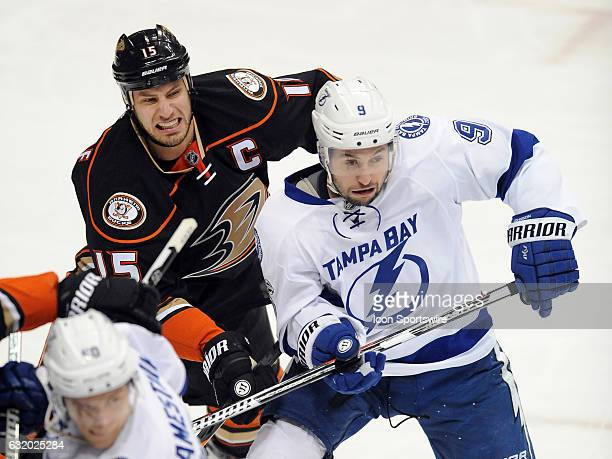 Anaheim Ducks captain Ryan Getzlaf and Tampa Bay Lightning center Tyler Johnson fight for position during the first period of a game played on...
