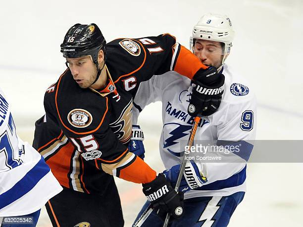 Anaheim Ducks captain Ryan Getzlaf gets his elbow in the face of Tampa Bay Lightning center Tyler Johnson during the first period of a game played on...