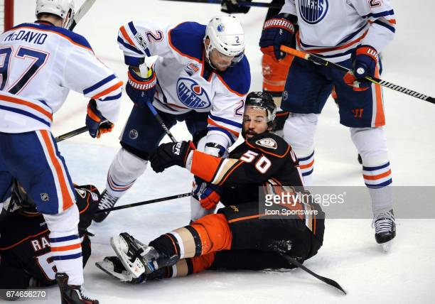 Anaheim Ducks center Antoine Vermette and Edmonton Oilers defenseman Andrej Sekera in action during the second period of a game played on April 28...