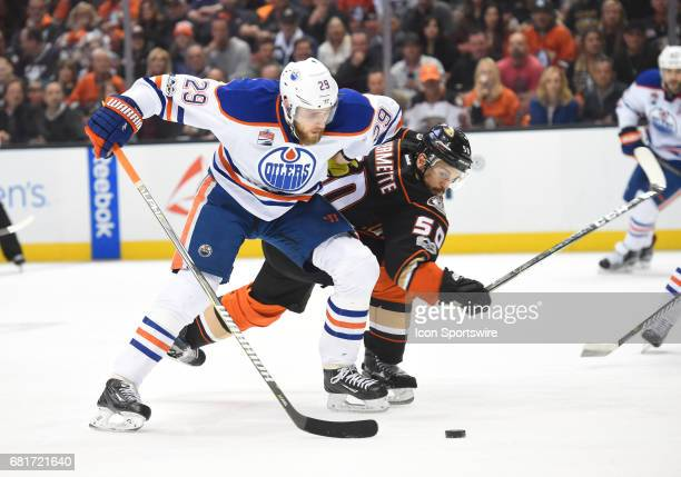 Anaheim Ducks Center Antoine Vermette battles Edmonton Oilers Center Leon Draisaitl for the puck during game 7 of the second round of the 2017 NHL...