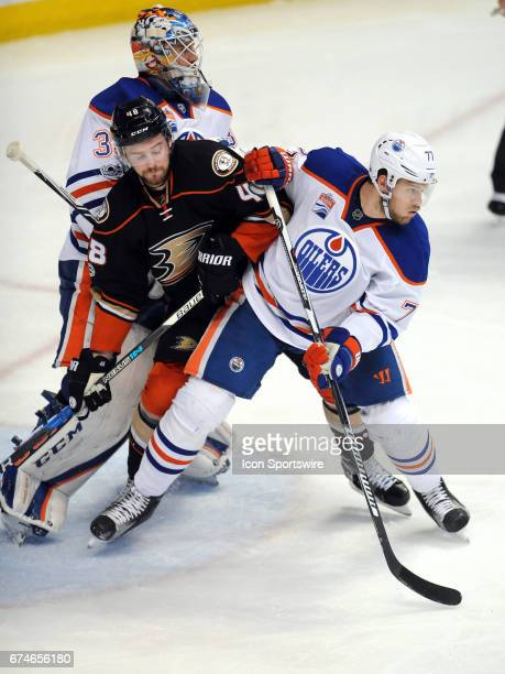 Anaheim Ducks center Loagan Shaw and Edmonton Oilers defenseman Oscar Klefbom in action during the second period of a game played on April 28 2017...