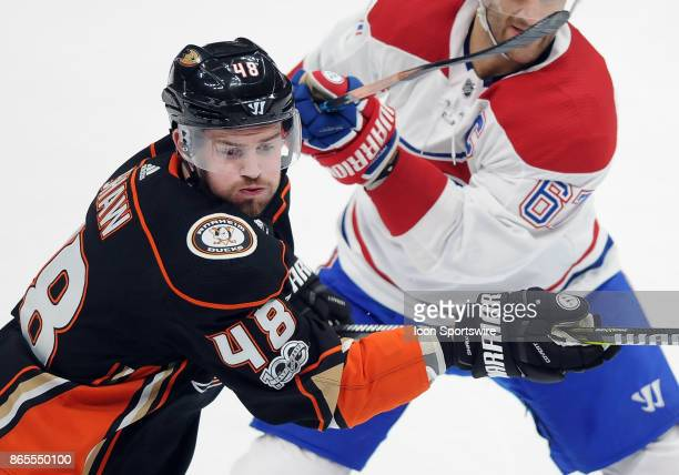 Anaheim Ducks center Logan Shaw in action with Montréal Canadiens leftwing Max Pacioretty during the third period of a game played on October 20 2017...