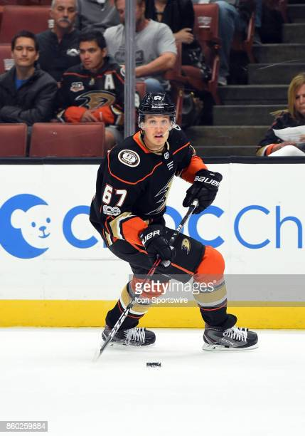 Anaheim Ducks Center Rickard Rakell during an NHL game between the Calgary Flames and the Anaheim Ducks on October 09 2017 at Honda Center in Anaheim...
