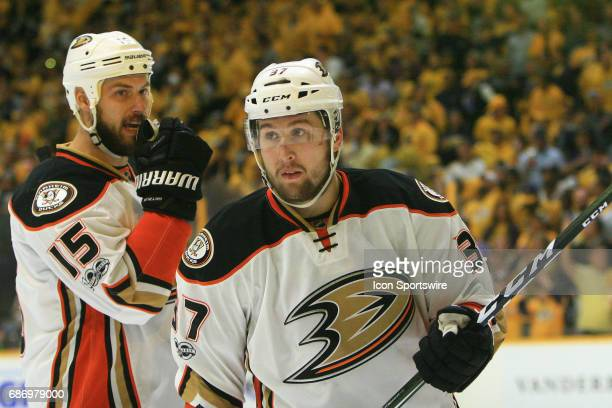 Anaheim Ducks center Ryan Getzlaf talks with Anaheim Ducks left wing Nick Ritchie during Game 6 of the Western Conference Final between the Nashville...
