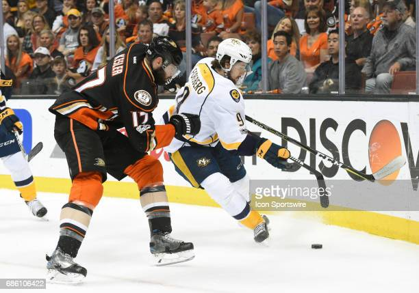 Anaheim Ducks Center Ryan Kesler pressures Nashville Predators Left Wing Filip Forsberg during game 5 of the 2017 NHL Western Conference Final...
