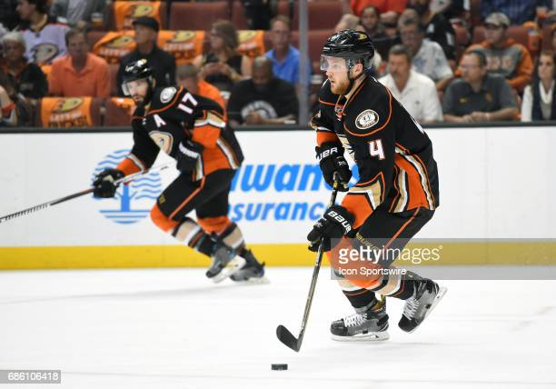 Anaheim Ducks Defenceman Cam Fowler and Anaheim Ducks Center Ryan Kesler bring the puck up the ice during game 5 of the 2017 NHL Western Conference...