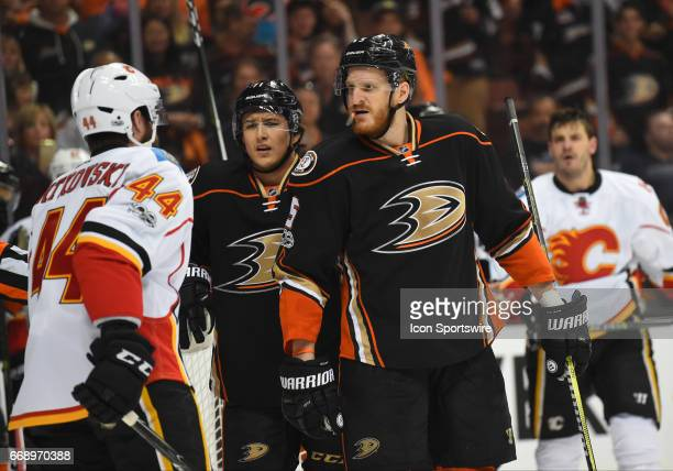 Anaheim Ducks Defenceman Sami Vatanen gets in the face of Calgary Flames Defenceman Matt Bartkowski during game 2 of the first round of the 2017 NHL...