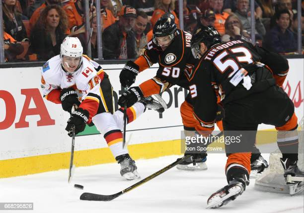 Anaheim Ducks Defenceman Shea Theodore and Anaheim Ducks Center Antoine Vermette battle Calgary Flames Left Wing Matthew Tkachuk for the puck during...