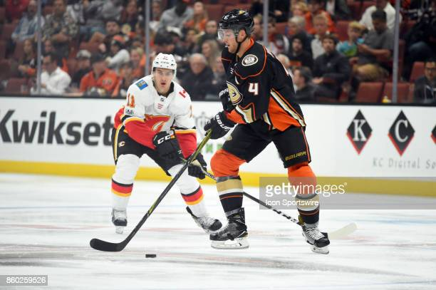 Anaheim Ducks Defenseman Cam Fowler during an NHL game between the Calgary Flames and the Anaheim Ducks on October 09 2017 at Honda Center in Anaheim...