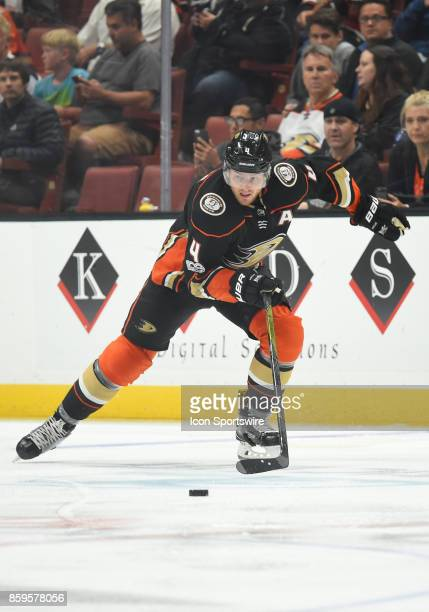Anaheim Ducks Defenseman Cam Fowler skates after the puck during an NHL game between the Calgary Flames and the Anaheim Ducks on October 09 2017 at...