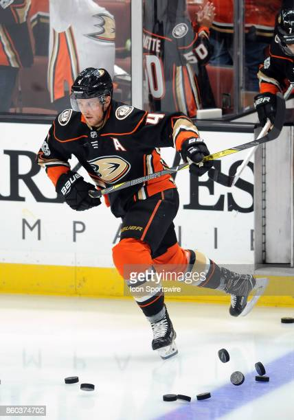 Anaheim Ducks defenseman Cam Fowler takes the ice during the pre skate before a game against the New York Islanders on October 11 played at the Honda...