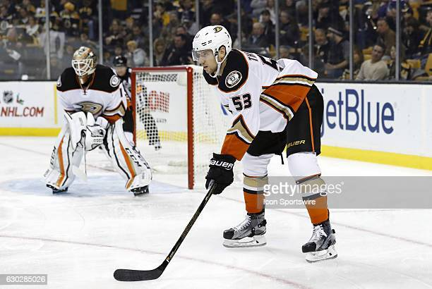 Anaheim Ducks defenseman Shea Theodore gets set for a defensive zone face off during a regular season NHL game between the Boston Bruins and the...