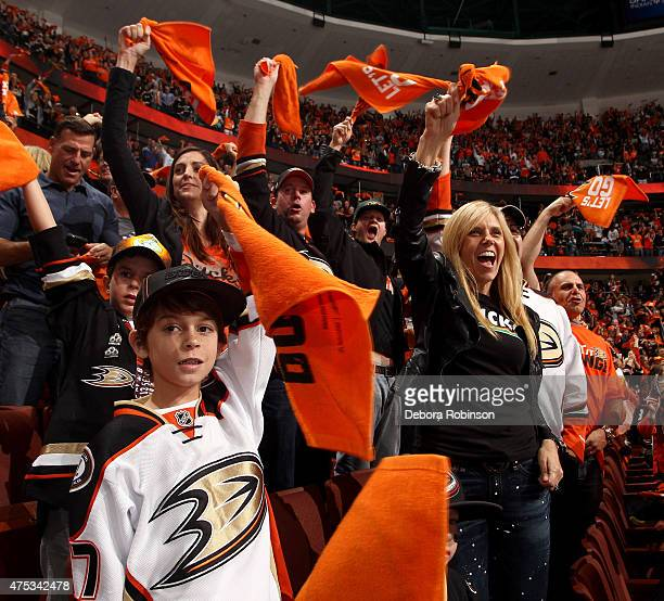Anaheim Ducks fans cheer before taking on the Chicago Blackhawks in Game Seven of the Western Conference Finals during the 2015 NHL Stanley Cup...