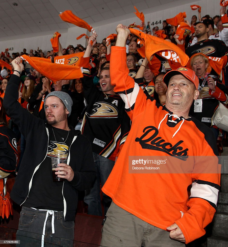Anaheim Ducks fans show their support before the game against the Calgary Flames in Game Five of the Western Conference Semifinals during the 2015 NHL Stanley Cup Playoffs at Honda Center on May 10, 2015 in Anaheim, California.