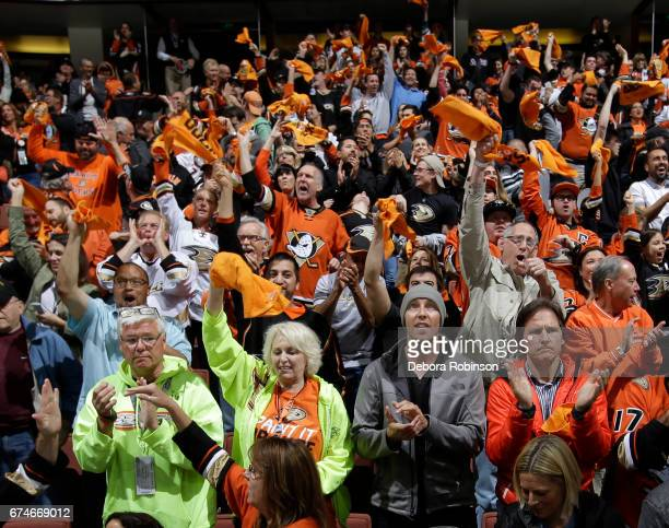 Anaheim Ducks fans show their support during the game between the Edmonton Oilers and the Anaheim Ducks in Game Two of the Western Conference Second...