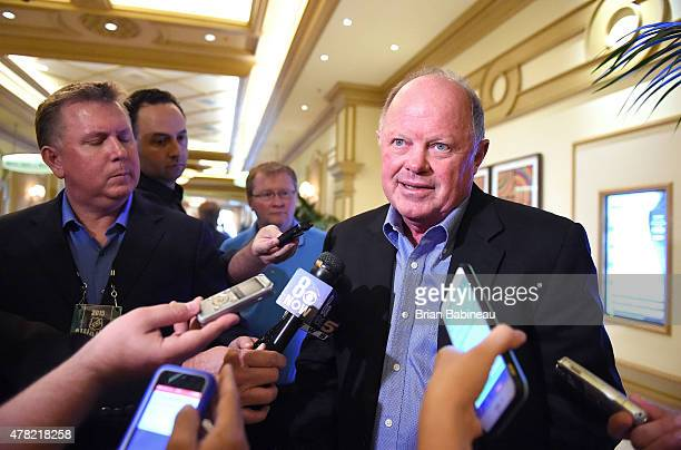 Anaheim Ducks general manager Bob Murray meets with the media following the NHL general managers meetings at the Bellagio Las Vegas on June 23 2015...