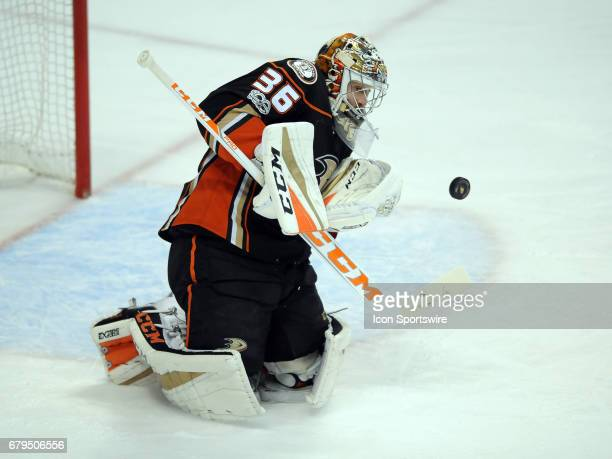 Anaheim Ducks goalie John Gibson blocks a shot during the first period of game 5 of the second round of the 2017 Stanley Cup Playoffs against the...