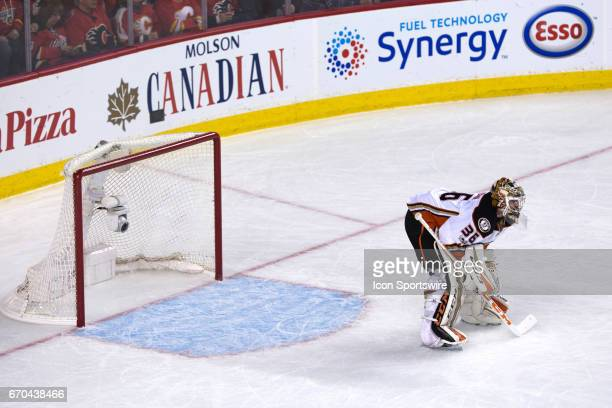 Anaheim Ducks goalie John Gibson during game 4 of the first round of the Stanley Cup Playoffs between the Anaheim Ducks and the Calgary Flames on...