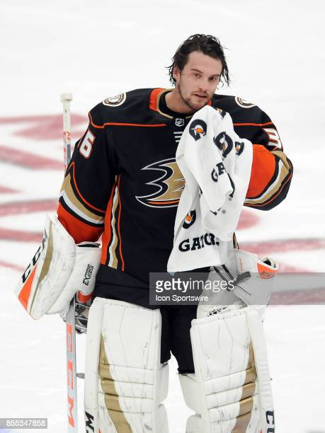 Anaheim Ducks goalie John Gibson on the ice during a break in the action of the second period of an NHL preseason game against the San Jose Sharks on...