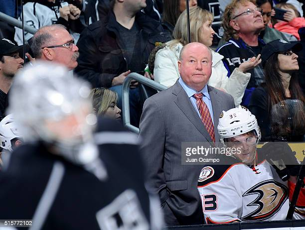 Anaheim Ducks head coach Bruce Boudreau looks on from the bench during the game against the Los Angeles Kings on March 5 2016 at Staples Center in...