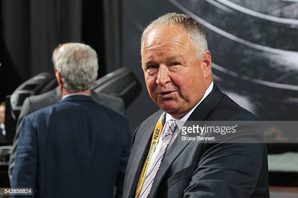 Anaheim Ducks Head Coach Sir Randy Carlyle attends round one of the 2016 NHL Draft on June 24 2016 in Buffalo New York