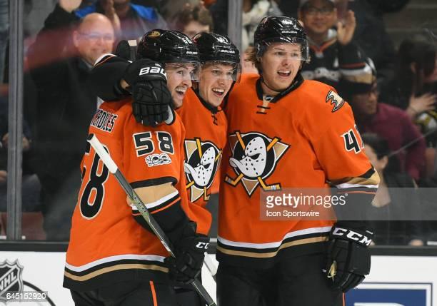Anaheim Ducks Left Wing Nic Kerdiles Anaheim Ducks Center Rickard Rakell and Anaheim Ducks Defenceman Hampus Lindholm celebrate after scoring their...