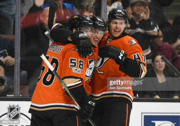 Anaheim Ducks Left Wing Nic Kerdiles Anaheim Ducks Center Rickard Rakell and Anaheim Ducks Defenceman Hampus Lindholm celebrate after scoring their...