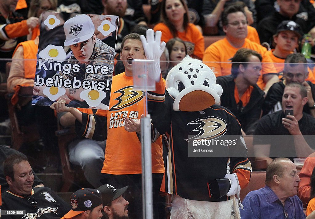 Anaheim Ducks mascot Wild Wing cheers with fans in the third period against the Los Angeles Kings in Game One of the Second Round of the 2014 NHL Stanley Cup Playoffs at Honda Center on May 3, 2014 in Anaheim, California. The Kings defeated the Ducks 3-2 in overtime.