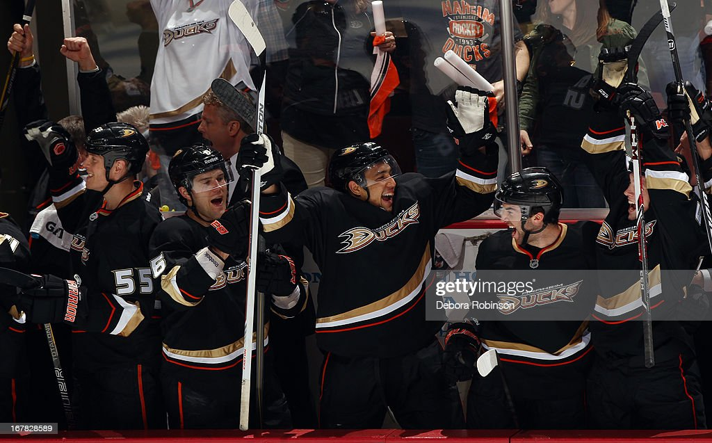 Anaheim Ducks players celebrate from the team bench during the game against the Detroit Red Wings in Game One of the Western Conference Quarterfinals during the 2013 NHL Stanley Cup Playoffs at Honda Center on April 30, 2013 in Anaheim, California.