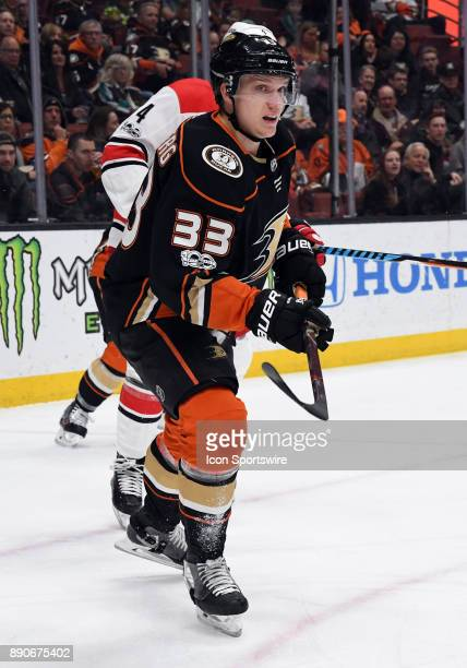 Anaheim Ducks rightwing Jaokb Silfverberg in action in the first period of a game against the Carolina Hurricanes on December 11 played at the Honda...