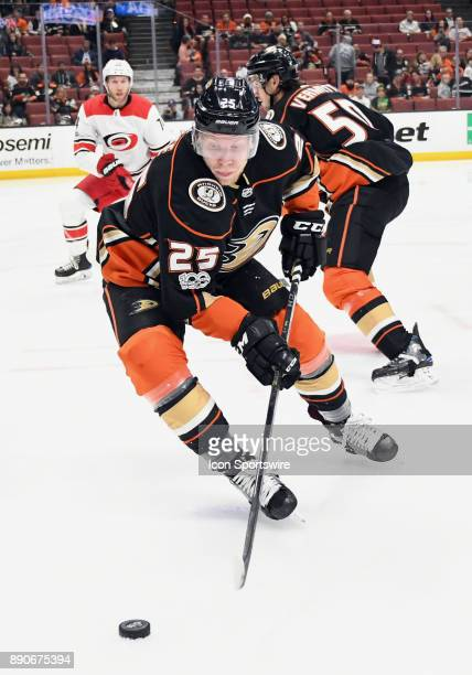 Anaheim Ducks rightwing Ondrej Kase with the puck in the first period of a game against the Carolina Hurricanes on December 11 played at the Honda...