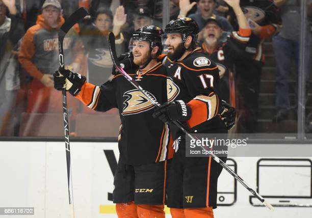 Anaheim Ducks Winger Chris Wagner celebrates with Anaheim Ducks Center Ryan Kesler after scoring their first goal of the game in the second period...