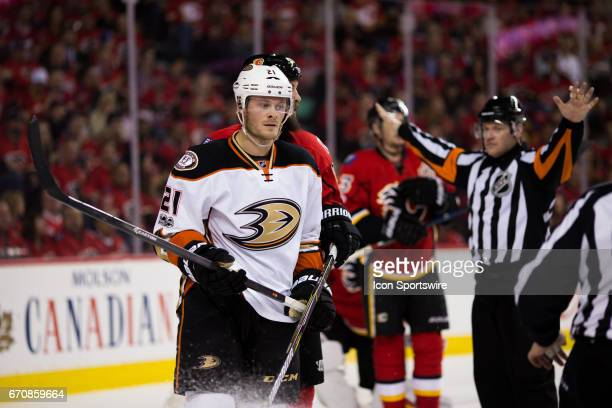 Anaheim Ducks Winger Chris Wagner during game 4 of the first round of the Stanley Cup Playoffs between the Anaheim Ducks and the Calgary Flames on...