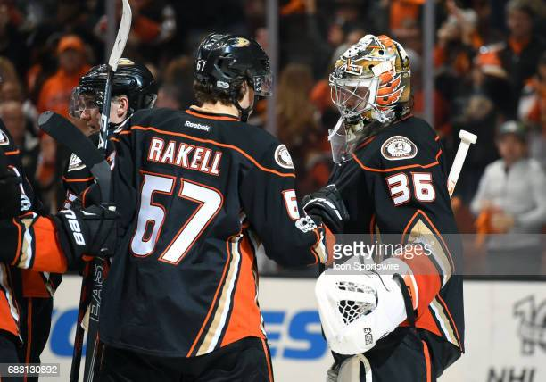 Anaheim Ducks Winger Rickard Rakell celebrates the victory with Anaheim Ducks Goalie John Gibson during game 2 of the 2017 NHL Western Conference...