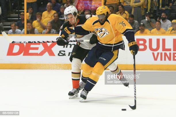 Anaheim Ducks winger Rickard Rakell challenges Nashville Predators defenseman PK Subban for the puck during Game Four of the Western Conference Final...