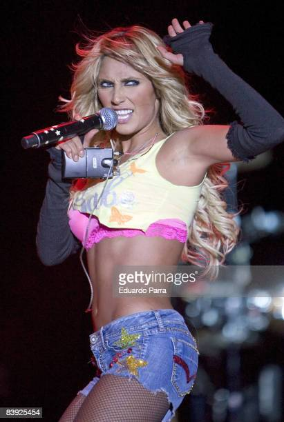 Anahi of Latino musical group RBD perform at Sports Palace on August 21 2008 in Madrid Spain
